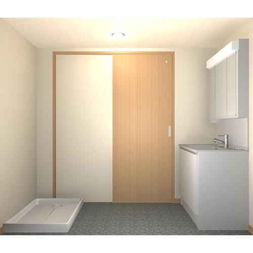 洗面室 内装 天井・壁材(ビニールクロス)、床材(クッションフロア)、ソフト巾木